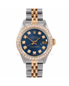 Rolex Datejust 26 6917 Yellow Gold & Stainless Steel, Custom Blue Diamond, 1ct Diamond Bezel On A Jubilee Bracelet - Ladies Pre-Owned Watch