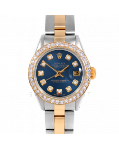 Rolex Datejust 26 6917 Yellow Gold & Stainless Steel, Custom Blue Diamond, 1ct Diamond Bezel On An Oyster Bracelet - Ladies Pre-Owned Watch