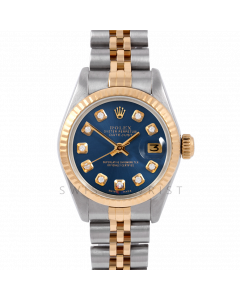 Rolex Datejust 26 6917 Yellow Gold & Stainless Steel, Custom Blue Diamond, Fluted Bezel On A Jubilee Bracelet - Ladies Pre-Owned Watch