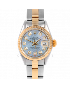 Rolex Datejust 26 6917 White Gold & Steel, Custom Light Blue Mother of Pearl Diamond, Fluted Bezel On An Oyster Bracelet - Ladies Pre-Owned Watch