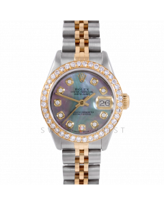 Rolex Datejust 26 6917 Yellow Gold & Steel, Custom Black Mother of Pearl Diamond, 1ct Diamond Bezel On A Jubilee Bracelet - Ladies Pre-Owned Watch