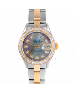 Rolex Datejust 26 6917 Yellow Gold & Steel, Custom Black Mother of Pearl Diamond, 1ct Diamond Bezel On A Oyster Bracelet - Ladies Pre-Owned Watch