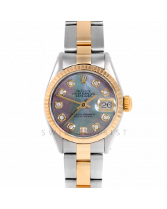 Rolex Datejust 26 6917 Yellow Gold & Steel, Custom Black Mother of Pearl Diamond, Fluted Bezel On A Oyster Bracelet - Ladies Pre-Owned Watch