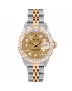 Rolex Datejust 26 6917 Yellow Gold & Stainless Steel, Custom Champagne Diamond, 1ct Diamond Bezel On A Jubilee Bracelet - Ladies Pre-Owned Watch