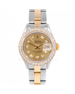 Rolex Datejust 26 6917 Yellow Gold & Stainless Steel, Custom Champagne Diamond, 1ct Diamond Bezel On An Oyster Bracelet - Ladies Pre-Owned Watch