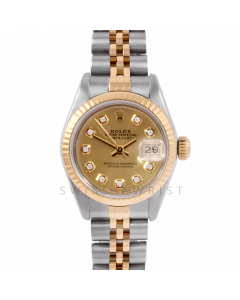 Rolex Datejust 26 6917 Yellow Gold & Steel, Custom Champagne Diamond, Fluted Bezel On A Jubilee Bracelet - Ladies Pre-Owned Watch