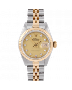 Rolex Lady Datejust 26 6917 Yellow Gold & Steel, Champagne Diamond Dial, Fluted Bezel on Jubilee Bracelet, Pre-Owned Watch