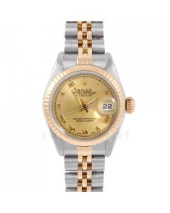 Rolex Datejust 26 6917 Yellow Gold & Steel, Champagne Roman, Fluted Bezel On A Jubilee Bracelet - Ladies Pre-Owned Watch