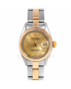Rolex Datejust 26 6917 Yellow Gold & Stainless Stainless Steel, Champagne Roman, Fluted Bezel On An Oyster Bracelet - Ladies Pre-Owned Watch