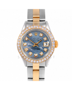 Rolex Datejust 26 6917 Yellow Gold & Steel, Custom Blue Mother of Pearl Diamond, 1ct Diamond Bezel On An Oyster Bracelet - Ladies Pre-Owned Watch