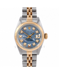Rolex Datejust 26 6917 White Gold & Steel, Custom Blue Mother of Pearl Diamond, Fluted Bezel On A Jubilee Bracelet - Ladies Pre-Owned Watch