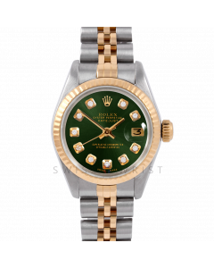 Rolex Datejust 26 6917 Yellow Gold & Stainless Steel, Custom Green Diamond, Fluted Bezel On A Jubilee Bracelet - Ladies Pre-Owned Watch