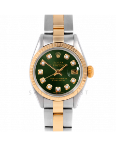 Rolex Datejust 26 6917 Yellow Gold & Stainless Steel, Custom Green Diamond, Fluted Bezel On An Oyster Bracelet - Ladies Pre-Owned Watch