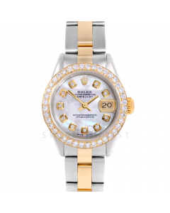 Rolex Datejust 26 6917 Yellow Gold & Steel, Custom Mother of Pearl Diamond, 1ct Diamond Bezel On An Oyster Bracelet - Ladies Pre-Owned Watch