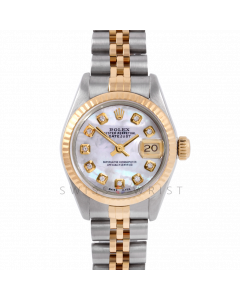 Rolex Lady Datejust 26 6917 Yellow Gold & Steel, Custom Mother of Pearl Diamond, Fluted Bezel On A Jubilee Bracelet - Pre-Owned Watch