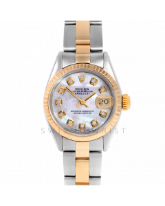 Rolex Datejust 26 6917 Yellow Gold & Steel, Custom Mother of Pearl Diamond, Fluted Bezel On An Oyster Bracelet - Ladies Pre-Owned Watch