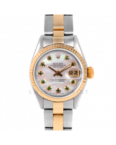 Rolex Datejust 26 6917 Yellow Gold & Steel, Custom Mother of Pearl Emerald Dial, Fluted Bezel On An Oyster Bracelet - Ladies Pre-Owned Watch