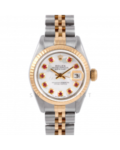 Rolex Datejust 26 6917 Yellow Gold & Steel, Custom Mother of Pearl Ruby Dial, Fluted Bezel On A Jubilee Bracelet - Ladies Pre-Owned Watch