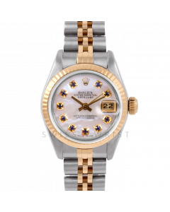Rolex Datejust 26 6917 Yellow Gold & Steel, Custom Mother of Pearl Sapphire Dial, Fluted Bezel On A Jubilee Bracelet - Ladies Pre-Owned Watch