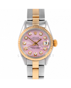 Rolex Datejust 26 6917 Yellow Gold & Steel, Custom Pink Mother of Pearl Diamond, Fluted Bezel On An Oyster Bracelet - Ladies Pre-Owned Watch