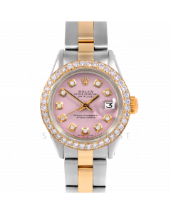 Rolex Datejust 26 6917 Yellow Gold & Stainless Steel, Custom Pink Diamond, 1ct Diamond Bezel On An Oyster Bracelet - Ladies Pre-Owned Watch