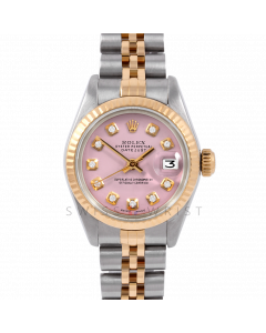 Rolex Datejust 26 6917 Yellow Gold & Stainless Steel, Custom Pink Diamond, Fluted Bezel On A Jubilee Bracelet - Ladies Pre-Owned Watch