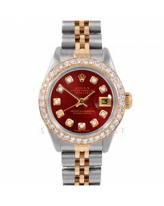 Rolex Datejust 26 6917 Yellow Gold & Stainless Steel, Custom Red Diamond, 1ct Diamond Bezel On A Jubilee Bracelet - Ladies Pre-Owned Watch