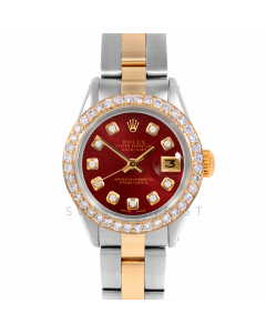 Rolex Datejust 26 6917 Yellow Gold & Stainless Steel, Custom Red Diamond, 1ct Diamond Bezel On An Oyster Bracelet - Ladies Pre-Owned Watch