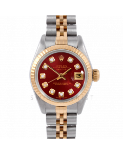 Rolex Datejust 26 6917 Yellow Gold & Stainless Steel, Custom Red Diamond, Fluted Bezel On A Jubilee Bracelet - Ladies Pre-Owned Watch