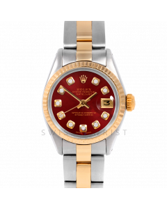 Rolex Datejust 26 6917 Yellow Gold & Stainless Steel, Custom Red Diamond, Fluted Bezel On An Oyster Bracelet - Ladies Pre-Owned Watch