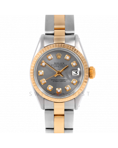 Rolex Datejust 26 6917 Yellow Gold & Stainless Steel, Custom Slate Diamond, Fluted Bezel On An Oyster Bracelet - Ladies Pre-Owned Watch