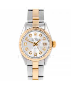 Rolex Datejust 6917 Custom Silver Diamond Dial Yellow Gold & Stainless Steel - Fluted Bezel On A Oyster Band - Pre-Owned