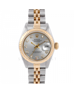 Rolex Datejust 6917 Factory Silver Diamond Dial Yellow Gold & Stainless Steel - Fluted Bezel On A Jubilee Band - Pre-Owned