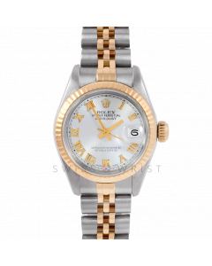Rolex Datejust 26 6917 Yellow Gold & Stainless Steel, Silver Roman, Fluted Bezel On A Jubilee Bracelet - Ladies Pre-Owned Watch