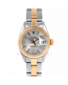 Rolex Datejust 26 6917 Yellow Gold & Stainless Steel, Silver Stick, Fluted Bezel On An Oyster Bracelet - Ladies Pre-Owned Watch
