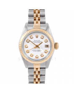Rolex Datejust 6917  Custom White Diamond Dial Yellow Gold & Stainless Steel - Fluted Bezel On A Jubilee Band - Pre-Owned