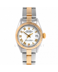 Rolex Datejust 26 6917 Yellow Gold & Stainless Stainless Steel, White Roman, Fluted Bezel On An Oyster Bracelet - Ladies Pre-Owned Watch