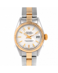 Rolex Datejust 26 6917 Yellow Gold & Stainless Stainless Steel, White Stick, Fluted Bezel On An Oyster Bracelet - Ladies Pre-Owned Watch