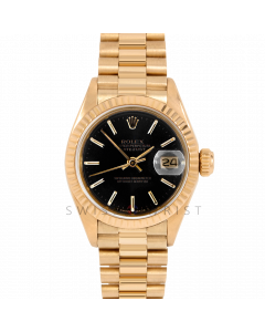 Rolex Datejust 26 6917 Yellow Gold President, Black Stick Dial, Fluted Bezel On Presidential Bracelet, Ladies Pre-Owned Watch