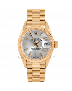 Rolex Datejust 26 6917 Yellow Gold President, Silver Stick Dial, Fluted Bezel On Presidential Bracelet, Ladies Pre-Owned Watch