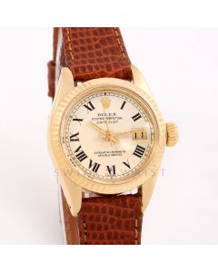 Rolex Datejust 26 mm 6917 Yellow Gold w/ White Buckley Dial & Fluted Bezel with Brown Leather Strap - Ladies Pre-Owned Watch