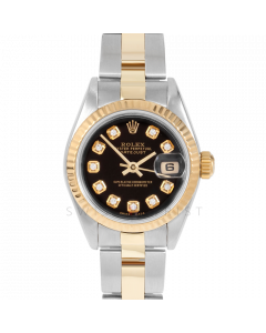 Rolex Lady Datejust 26 69173 Yellow Gold & Steel, Custom Black Diamond Dial, Fluted Bezel on Oyster Bracelet, Pre-Owned Watch