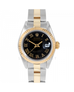 Rolex Datejust 69173 Black Roman Dial - 18k Yellow Gold & Stainless Steel - Fluted Bezel On A Oyster Band - Ladies Pre-Owned Watch
