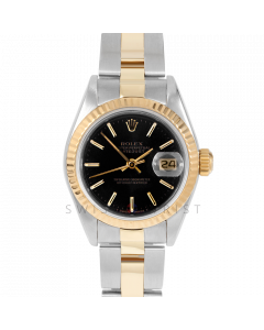 Rolex Datejust 69173 Black Stick Dial - 18k Yellow Gold & Stainless Steel - Fluted Bezel  On A Oyster Band - Ladies Pre-Owned Watch