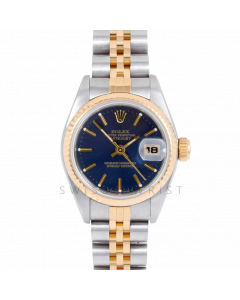 Rolex Datejust 69173 Blue Stick Dial 18k Yellow Gold & Stainless Steel - Fluted Bezel On A Jubilee Band - Ladies Pre-Owned Watch