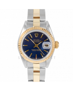 Rolex Datejust 69173 Blue Stick Dial 26mm Yellow Gold & Stainless Steel - Fluted Bezel On An Oyster Band - Ladies Pre-Owned Watch