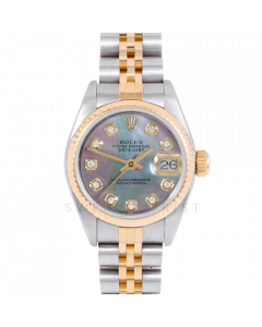 Rolex Datejust 69173 Black Mother Of Pearl Diamond Dial 18k Yellow Gold & Stainless Steel - Fluted Bezel On A Jubilee Band - Ladies Pre-Owned Watch