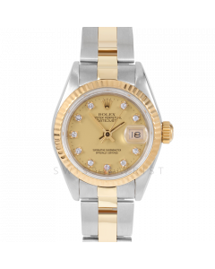 Rolex Datejust 69173 Factory Champagne Diamond Dial 18k Yellow Gold & Stainless Steel - Fluted Bezel On A Oyster Band - Pre-Owned