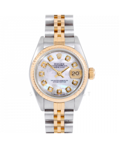 Rolex Datejust 69173 Custom Mother of Pearl Diamond Dial 18k Yellow Gold & Stainless Steel - Fluted Bezel On A Jubilee Band - Ladies Pre-Owned Watch