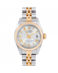 Rolex Datejust 69173 Silver Roman Dial 18k Yellow Gold & Stainless Steel - Fluted Bezel On A Jubilee Band - Ladies Pre-Owned Watch